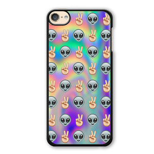 Psychedelic Alien Emoji Pattern Phonecase Cover Case For Apple Ipod 4 Ipod 5 Ipod 6