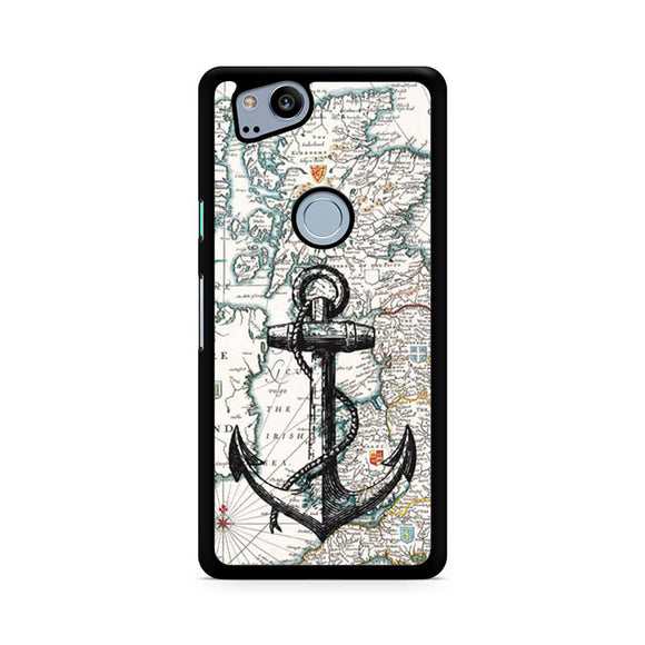 nautica map and anchor, Custom Phone Case, Google Pixel 2 Case, Pixel 2 Case