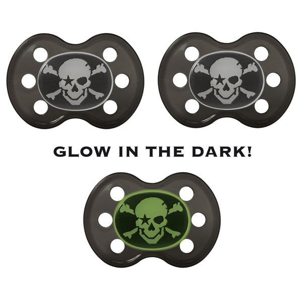"Pacifier set ""PIRATE - GLOW IN THE DARK"", 3 PIECES"