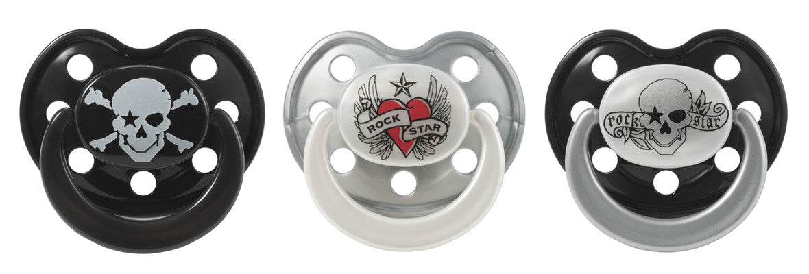 ROCK STAR BABY pacifiers pirate heart & wings