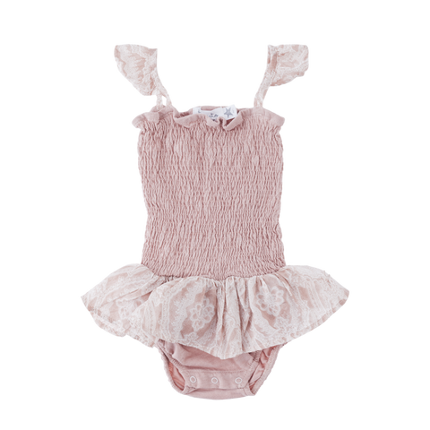 29b45e20155 Tocoto Vintage Pink Bodysuit with Ruffle