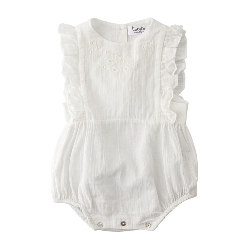 Tocoto Vintage Baby One Piece With Embroidery