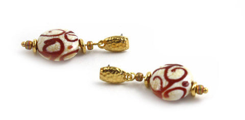 Rust Swirls on Ivory Earrings | The Earring Collection