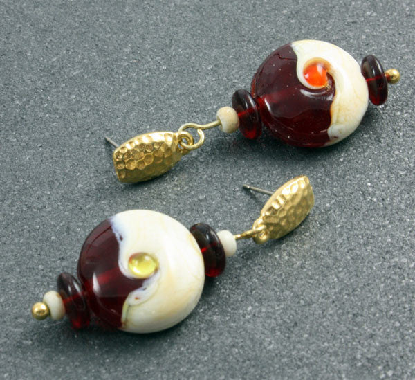 Ivory & Red Yin Yang Earrings | The Earring Collection