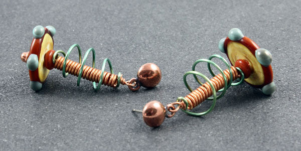 Wire Spiral Disk Glass Earrings | The Dangle Earring Collection