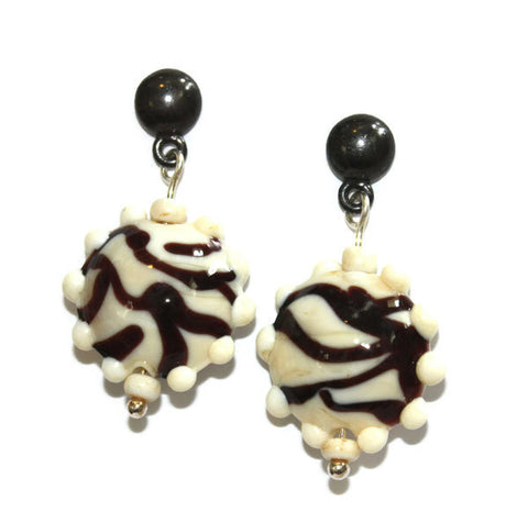 Ivory Dotted Zebra Earrings | The Earring Collection