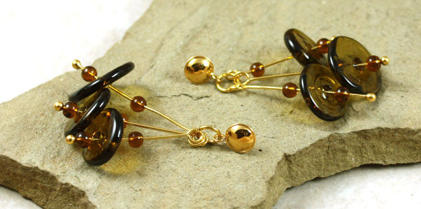 Deep Olive Glass Earrings | The Earring Collection