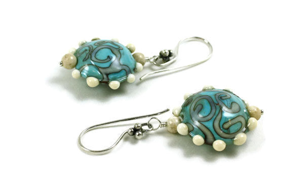 Blue Swirls with Dots Earrings | The Earring Collection