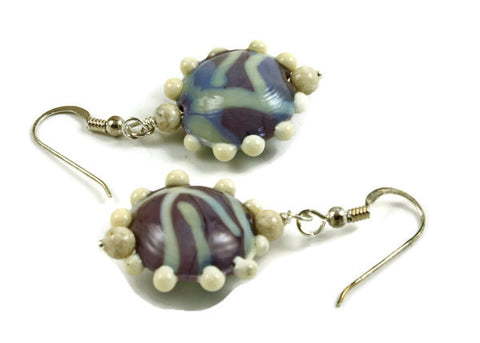 Mauve and Ivory Earrings | The Earring Collection