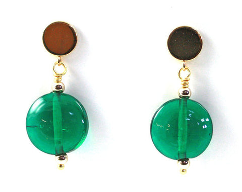 Emerald Lentils Glass Earrings | The Earring Collection