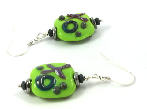 Green Graffiti Earrings | The Earring Collection
