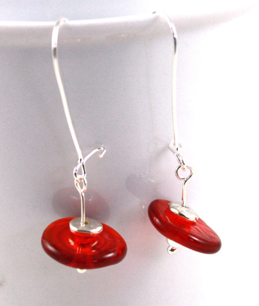 Luscious Red Disk Earrings | The Earring Collection
