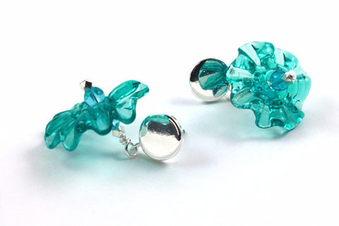 Teal Ruffles Earrings | The Earring Collection