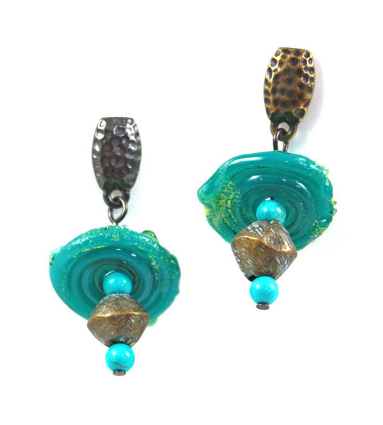 Rustic Green Glass Disk Earrings | Ancient Treasures Collection