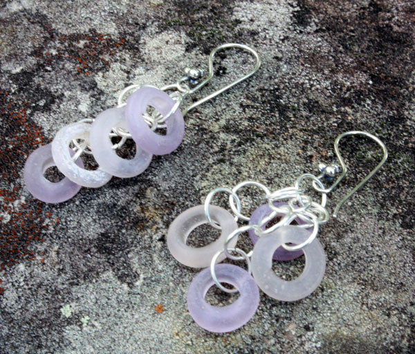 Mauve Roman Glass Earrings | Ancient Treasures Collection