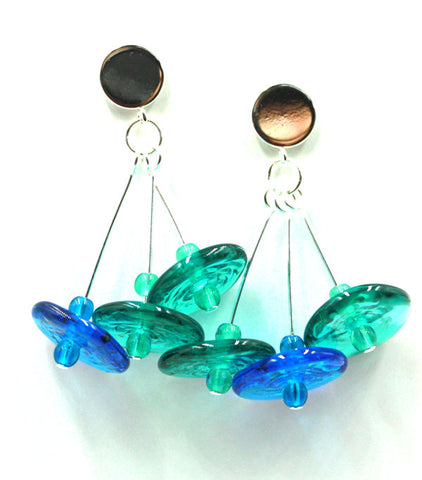 Disks in Blues Earrings | The Earring Collection