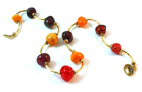 Red to Amber Faceted Bubbles Necklace |  The Bubble Necklace Collection