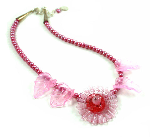 Pink Cactus Flower Necklace | The Flower Necklace Collectioin