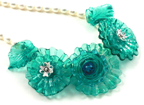 Flowers In Aquamarine Necklace | The Flower Necklace Collection