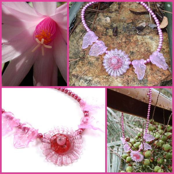 Pink Cactus Flower Necklace | Desert Blooms Collection