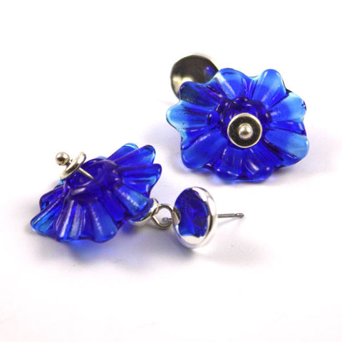 Ink Blue Ruffle Earrings | The Earring Collection