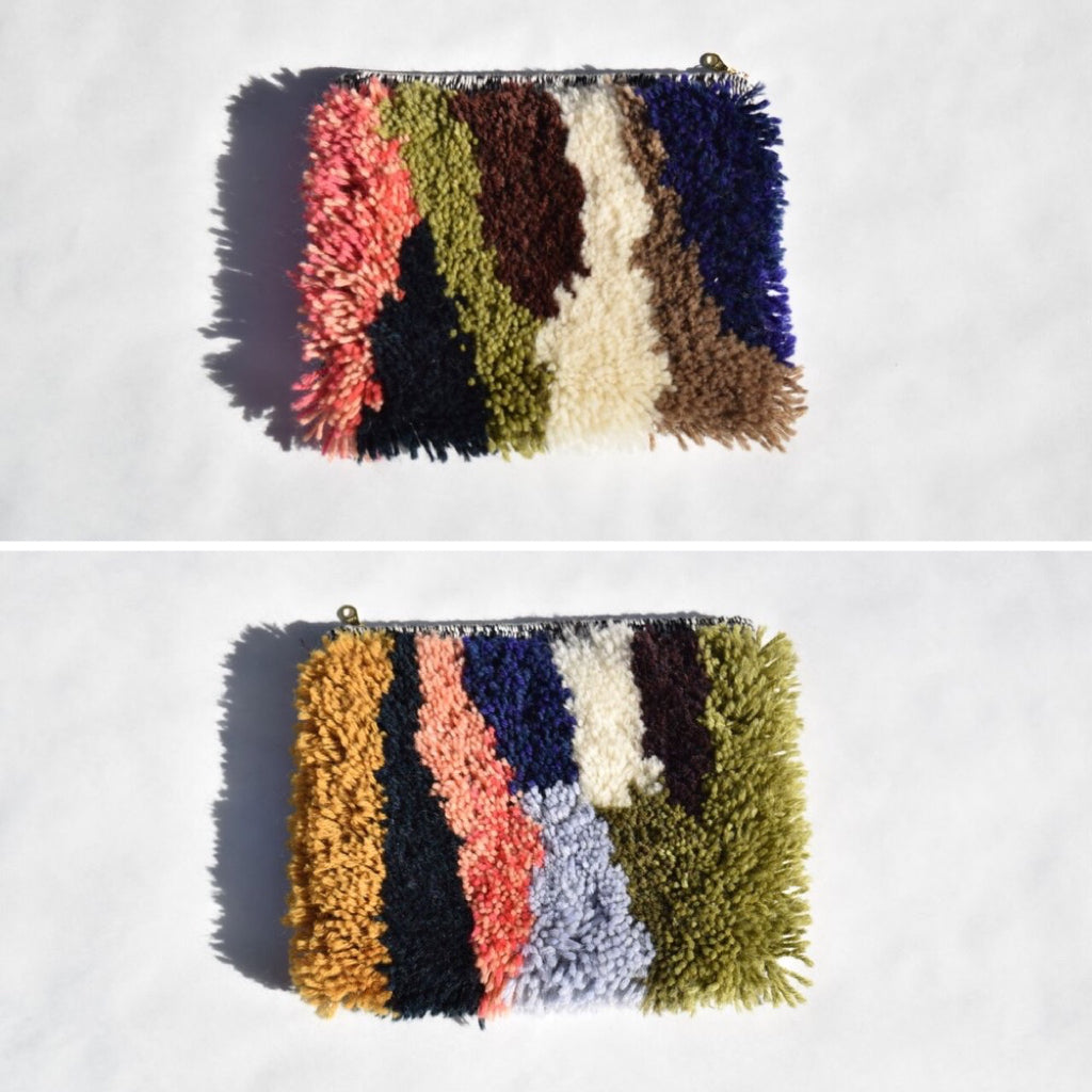 Fuzzy party clutches hand woven by textile artist, Hayley F. James