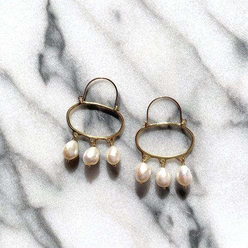 Penelope Hoops with Baroque Pearls