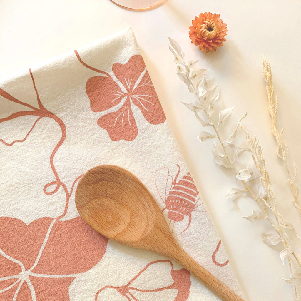 Nasturtium Tea Towel in Clay