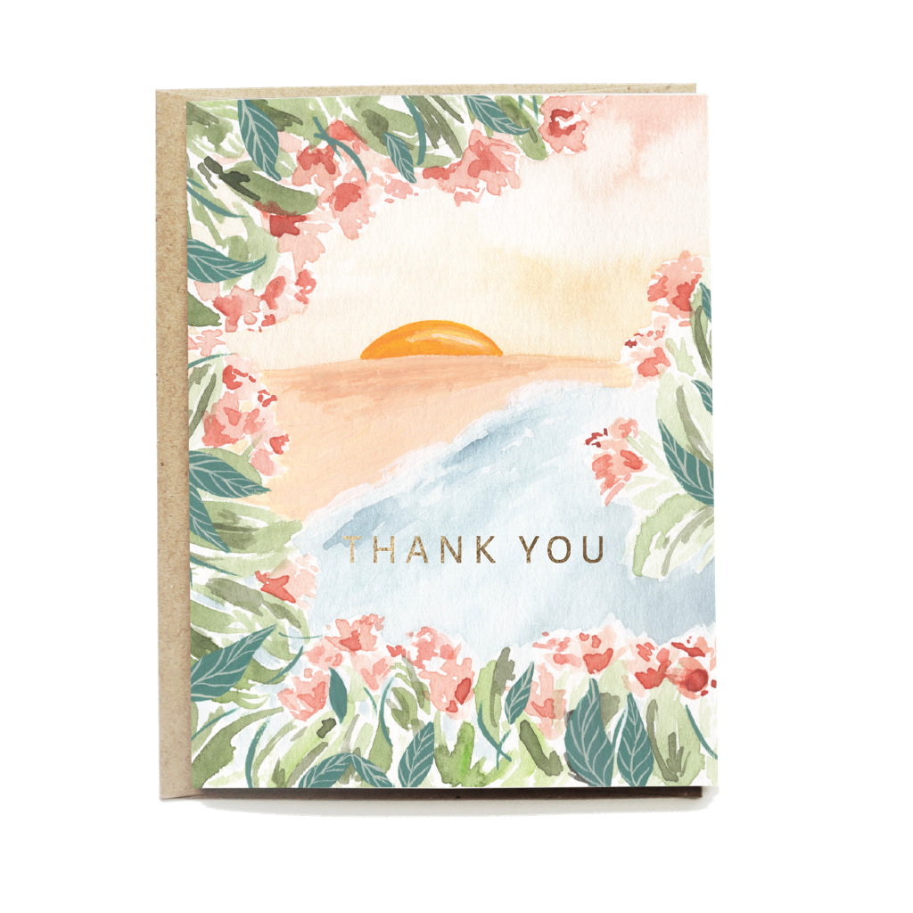 Seaside Floral Thank You Card