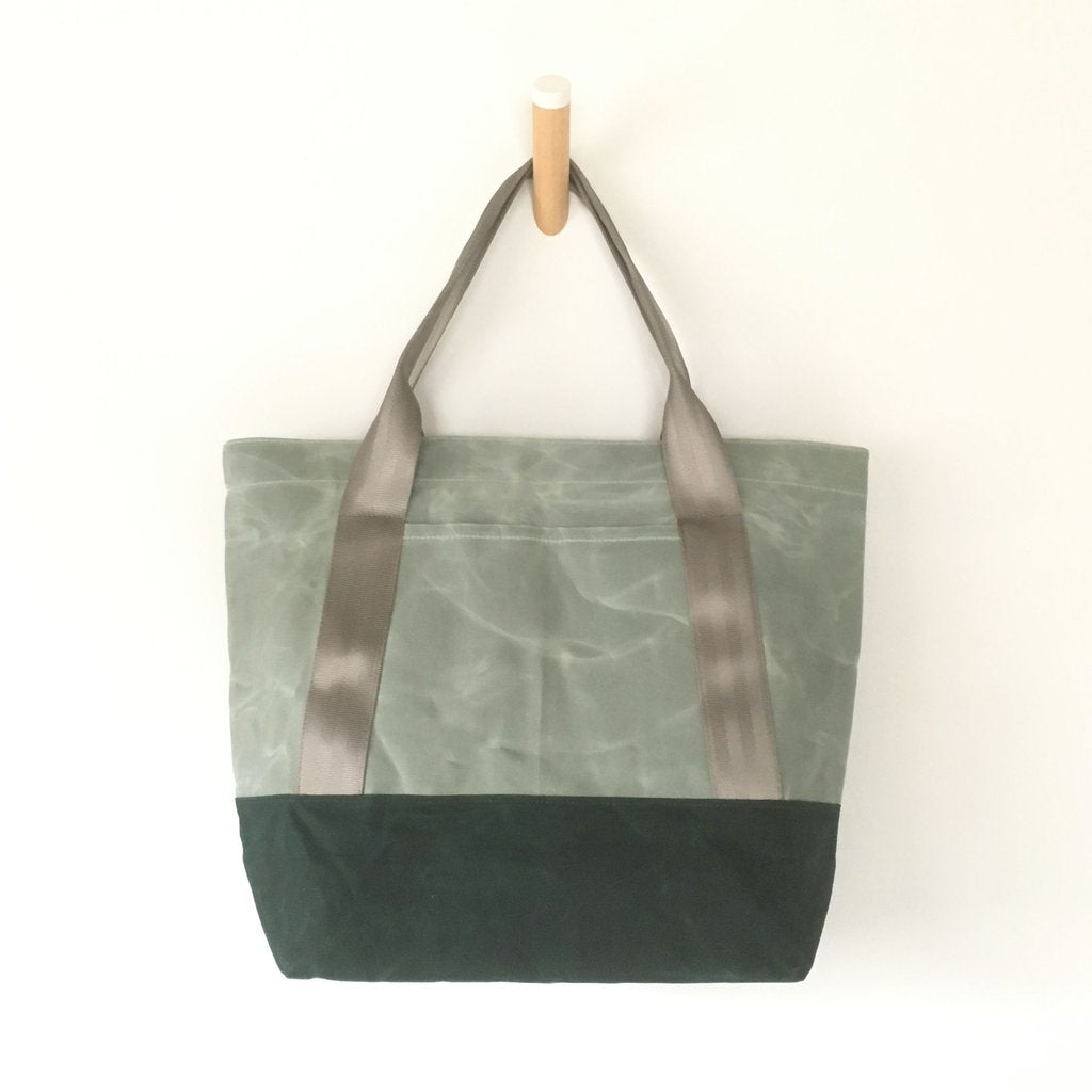 Sage Waxed Canvas Utility Tote