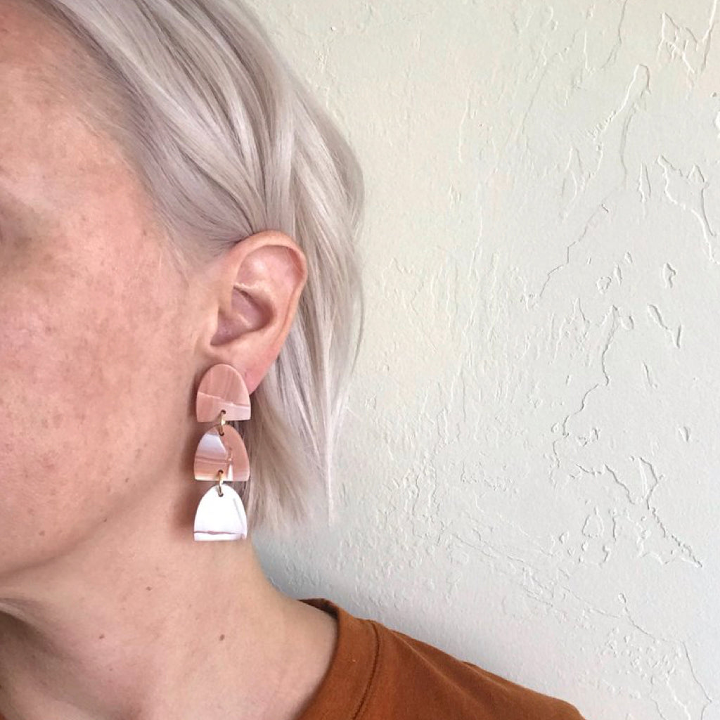 Stacked Marbled Earrings