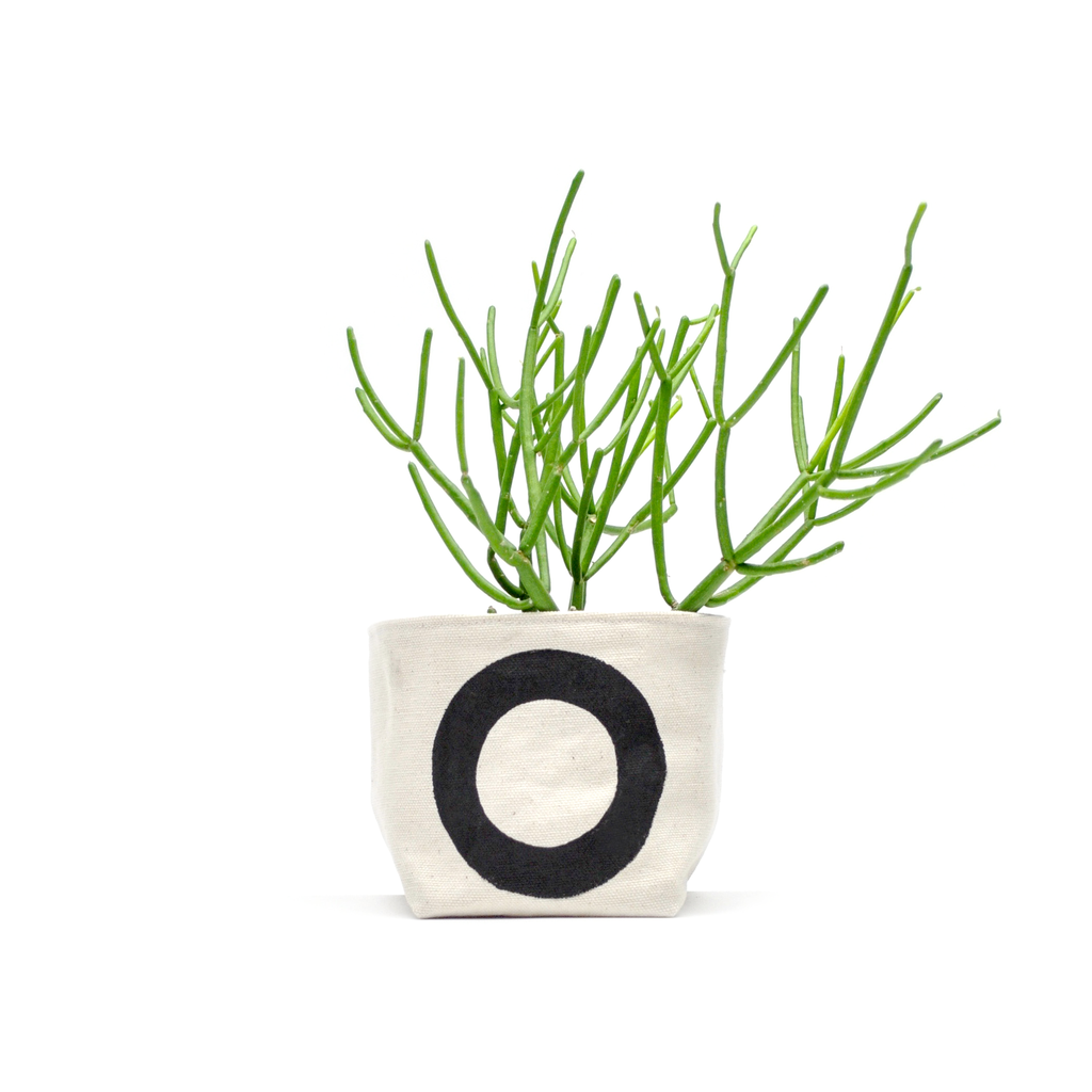Black Circle Canvas Planter