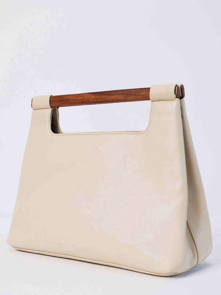Wood Cut Out Tote Bag in Summer White