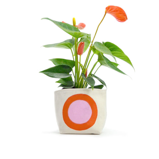 Pink & Orange Circle Canvas Planter