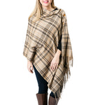 camel glen plaid poncho wrap, camel glen plaid blanket scarf, camel glen plaid cape