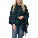 navy and green plaid poncho wrap, navy and green plaid cape, navy and green plaid blanket scarf