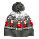 red santa on gray knit pompom hat