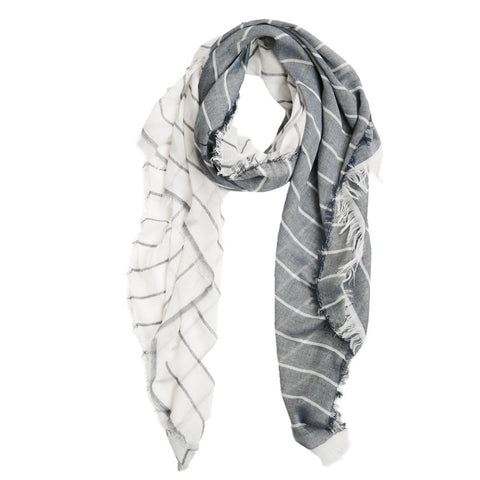 Gray and white stripped scarf