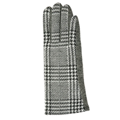 black & white glen plaid gloves