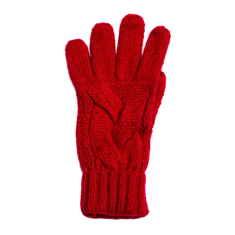 red cable knit gloves