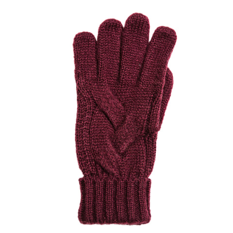 eggplant cable knit gloves