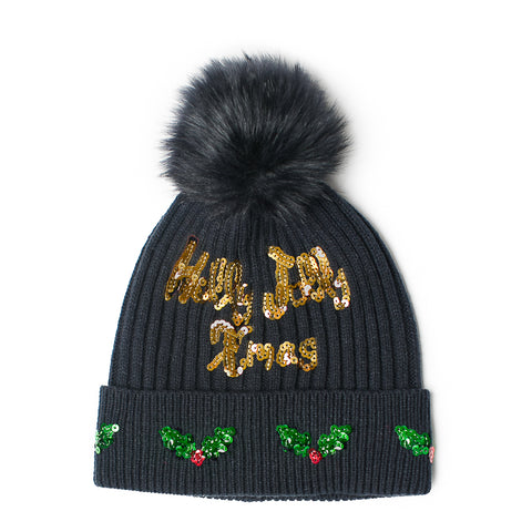 navy Holly Jolly Xmas pom pom hat with sequins