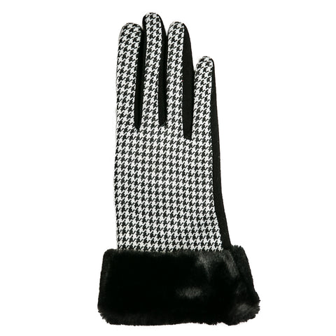faux fur houndstooth glove
