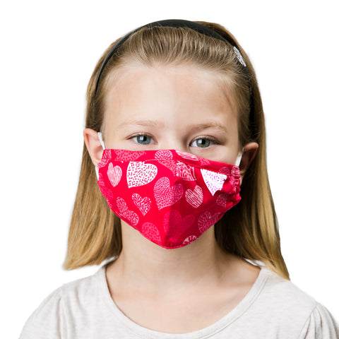 kids non medical facemask pink hearts