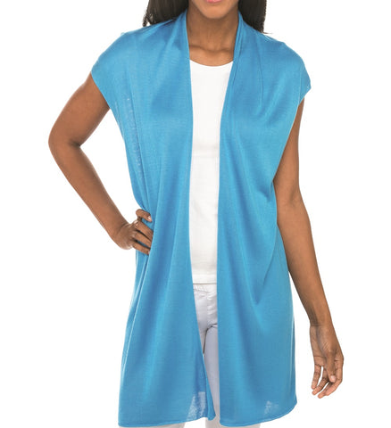Bamboo short sleeve duster cyan blue