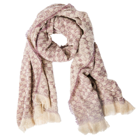 checkered scarf, blanket scarf, winter accessories, mauve checkered