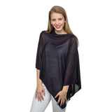 a bamboo fabric pull over poncho in navy