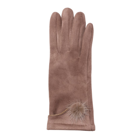 taupe microfiber gloves with fur pompom