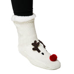 cream reindeer holiday sock