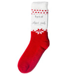 red and white holiday slipper sock